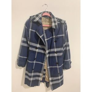 Burberry Brit Blue Check Cotton Trench Coat